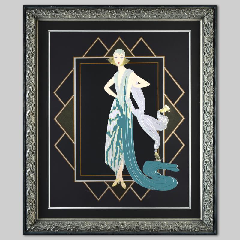 california turquoise dress art deco erte gallery 198418